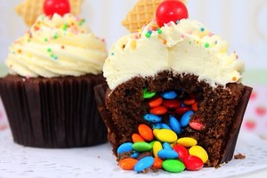 There's nothing better than an M&M filled cupcake!
